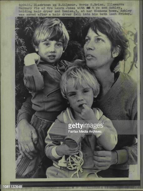 Illawarra Mercury pic of Mrs Laura James with 4 yo son Ashley holding hair dryer and Damien at her Woonona home Ashley was saved after a hair dryer...
