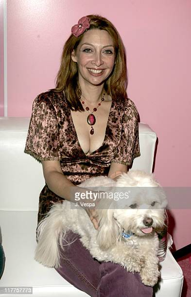 Illeana Douglas and dog Godfried during Tarina Tarantino Jewelry Store Opening Inside at Tarina Tarantino Jewelry Store in Hollywood California...