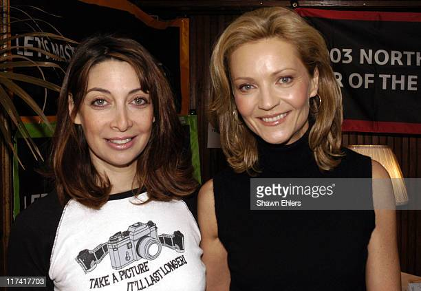 Illeana Douglas and Joan Allen during The 11th Annual Hamptons International Film Festival Reception at the Huntting Inn at Huntting Inn in East...