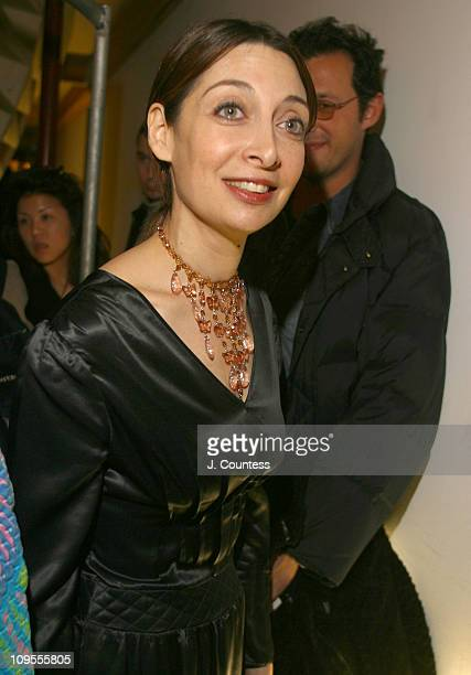 Illeana Douglas during MercedesBenz Fashion Week Fall 2003 Collections Cynthia Rowley Backstage at Deitch Gallery in New York City New York United...