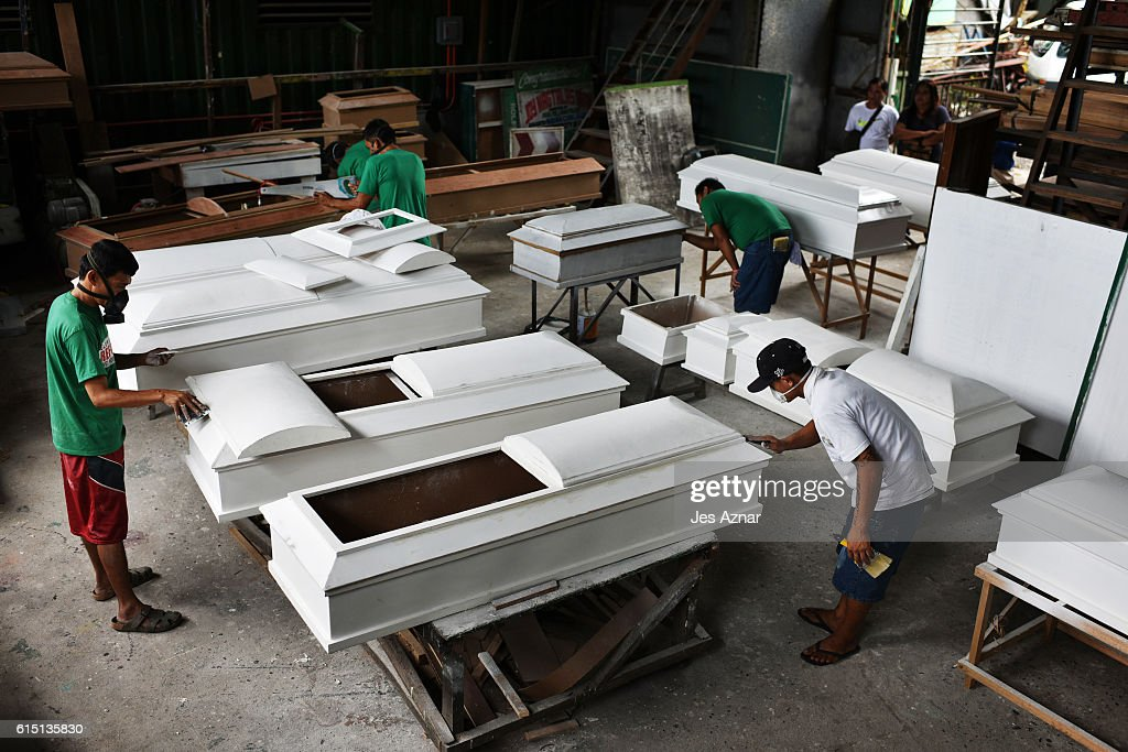 Illegal drug users who recently surrendered to authorities are employed by the local government to make coffins as part of their rehabilitation program in Olongapo city, October 15, 2016. As the number of drug related killings, surrenders and arrests continues to rise, the local government of Olongapo city, north of Manila, thought of a way to help in the rehabilitation of drug dependents, by having them build coffins. Philippine President Rodrigo Duterte's war on drugs has lead to the death of at least 3,700 people as they hope the programme would act as deterrent to would be offenders. With only a handful of drug rehabilitation centers across the nation, authorities have been caught massively overwhelmed from an astounding influx of more than 700,000 surrenders and 15,000 arrests, according to reports.