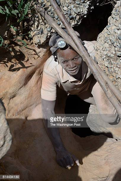 Illegal gold miner Nkosi Sibanda makes his way out of an entrance to a mining shaft in Roodepoort on January 29 2016 The image is part of a feature...