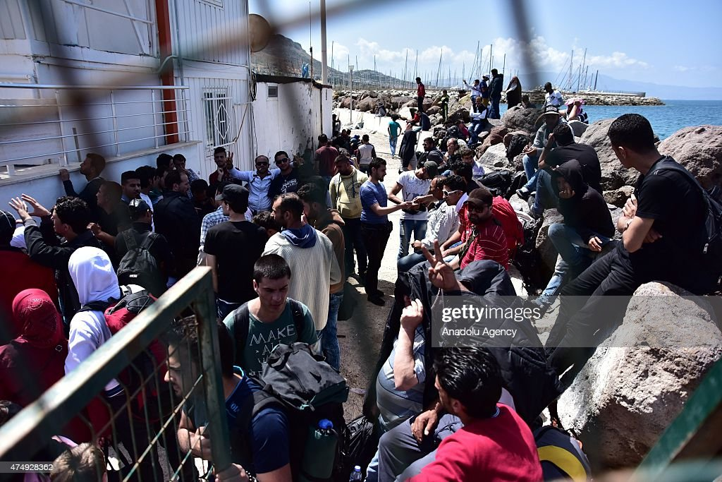 Illegal migrants are seen at Bodrum Coast Guard Command after 185 illegal migrants including Syrian, Lebanese, Afghan and Israeli trying to reach Grecee's Kos island were captured by Turkey's Coast Guard Mugla, Turkey on May 28, 2015.