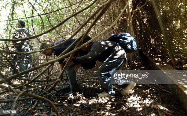 Illegal migrants caught by U.S. Border Patrol after arriving on a small boat are escorted through the thick brush April 25, 2004 in Aguadilla, Puerto...