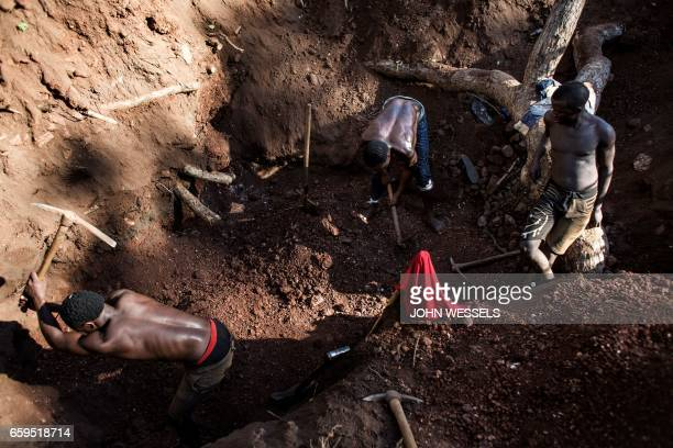Illegal miners excavate to find gold in an area rich with gold and rubies on the outskirts of Montepuez Mozambique on February 15 2017 The stakes are...