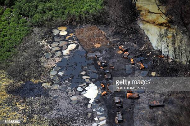 Illegal refinery destroyed by the Joint Task Force at Nembe Creek in Niger Delta on March 22 2013 Shell Petroleum Development Company of Nigeria has...