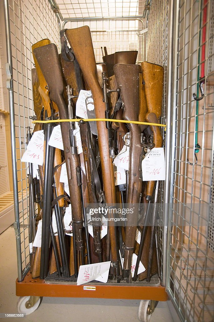 Illegal rifles confiscated by the German police are packed for the