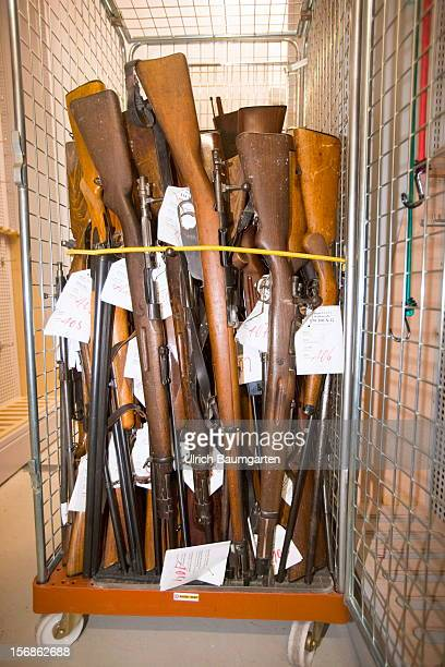 Illegal rifles confiscated by the German police are packed for the destroyment in the evidence room at the police headquarter on November 22 2012 in...