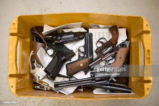 Illegal small arms confiscated by the German police are packed for the destroyment in the evidence room at the police headquarter on November 22 2012...
