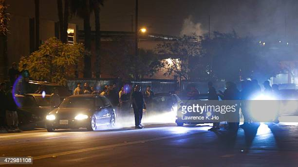 Illegal Street racing activities on Ana Street in Compton on April 13 2015 One of the several illegal street racing locations racers raced