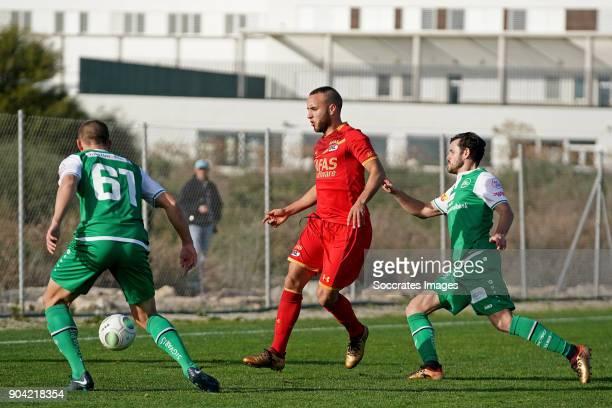 Illiass Bel Hassani of AZ Alkmaar, Tranquillo Barnetta of FC St Gallen, during the match between AZ Alkmaar v FC St Gallen at the Complejo deportivo...