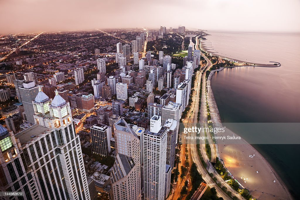 USA, Illinois, Chicago, Aerial view of Lake Shore Drive : Stock Photo