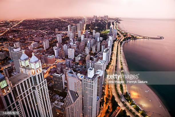 usa, illinois, chicago, aerial view of lake shore drive - chicago illinois stock photos and pictures