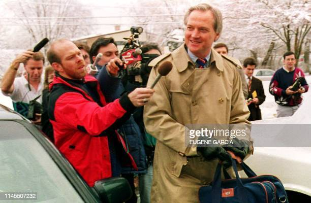 Chicago Bears team president Michael McCaskey is pursued by the media 05 Jan 1993 as he arrrives at team offices for a meeing with coach Mike Ditka...