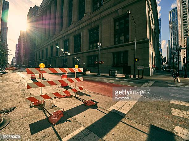 USA, Illinois, Chicago, construction site on crossroad