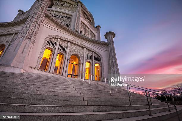 USA, Illinois, Chicago, Evanston, Bahai Temple, Illuminated temple against moody sunset sky