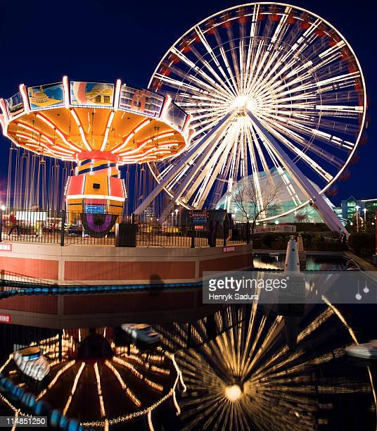 usa, illinois, chicago, ferris wheel and carousel at navy pier - navy pier stock pictures, royalty-free photos & images