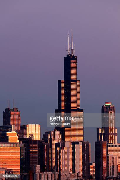 USA, Illinois, Chicago, Gold Coast buildings in autumn
