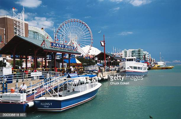 usa, illinois, chicago, navy pier, summer - navy pier stock pictures, royalty-free photos & images