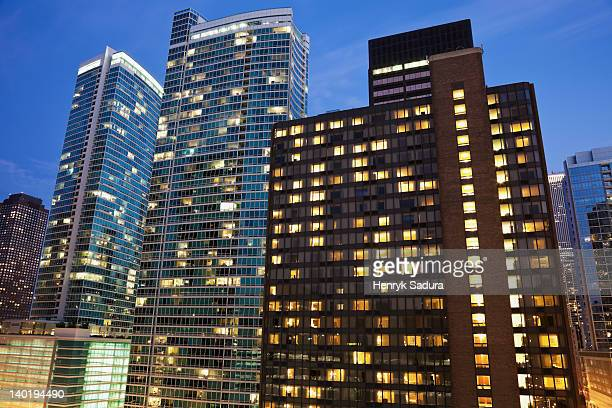 USA, Illinois, Chicago, Office buildings at night
