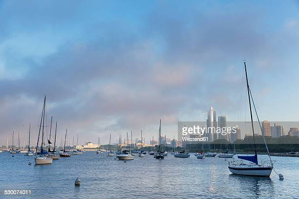 usa, illinois, chicago, sailing boats at the harbour - cook county illinois stock photos and pictures
