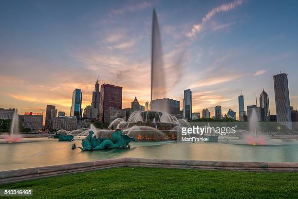USA, Illinois, Chicago skyline at sunset