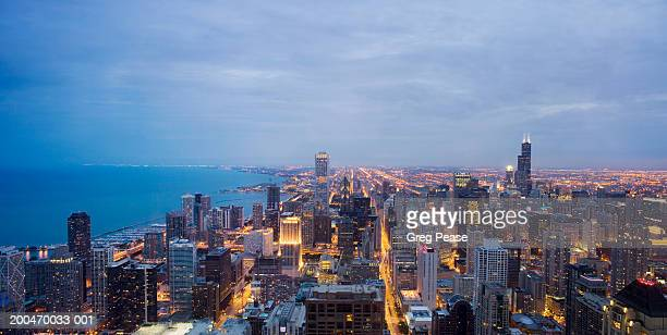 USA, Illinois, Chicago skyline, elevated view, sunset