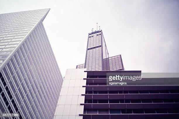 usa, illinois, cook county, chicago, willis tower in chicago - willis tower stock photos and pictures