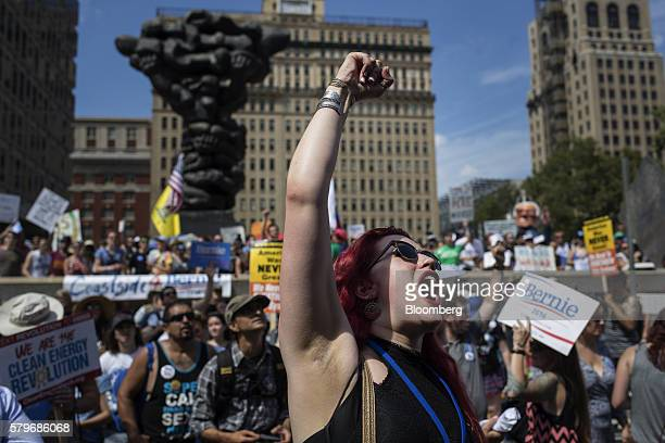 Illinois Delegate for Bernie Saunders Olivia Hatlestad cheers at the March For Bernie ahead of the Democratic National Convention in Philadelphia US...