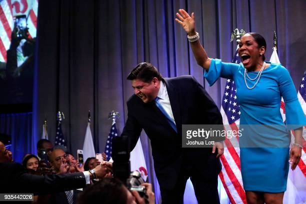 Illinois Democratic candidate for governor JB Pritzker and his Lieutenant Governor pick Juliana Stratton arrive during his primary election night...
