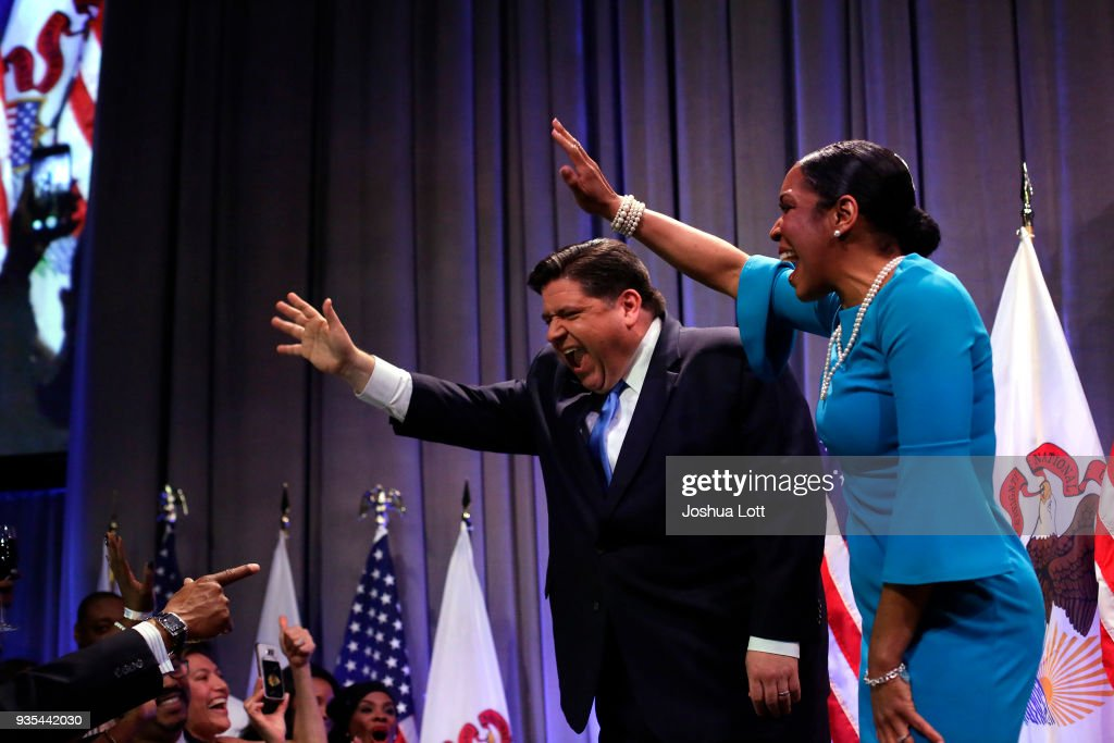 Democratic Gubernatorial Candidate For Governor J.B. Pritzker Holds Primary Night Event In Chicago : News Photo
