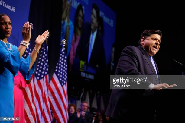 Illinois Democratic candidate for Governor JB Pritzker speaks during his primary election night victory as his Lieutenant Governor pick Juliana...