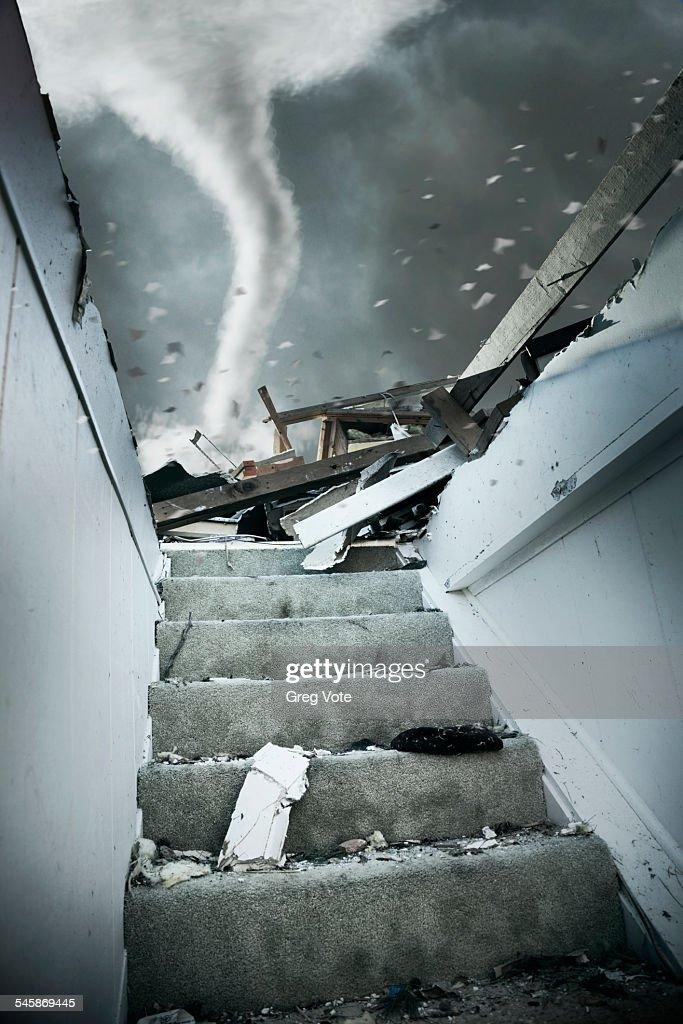 USA, Illinois, Demolished staircase of house during tornado : Stock Photo