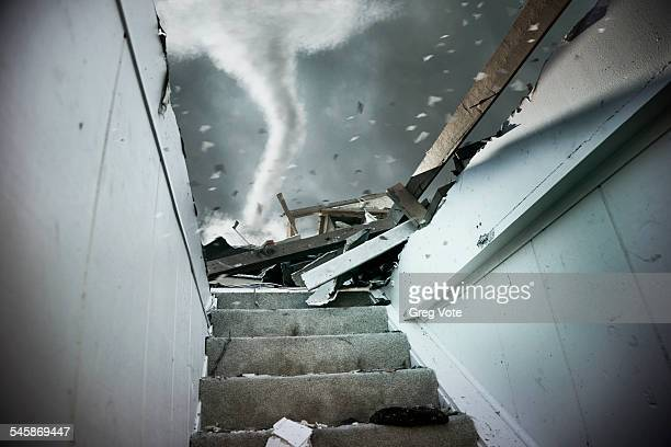 USA, Illinois, Demolished staircase of house during tornado