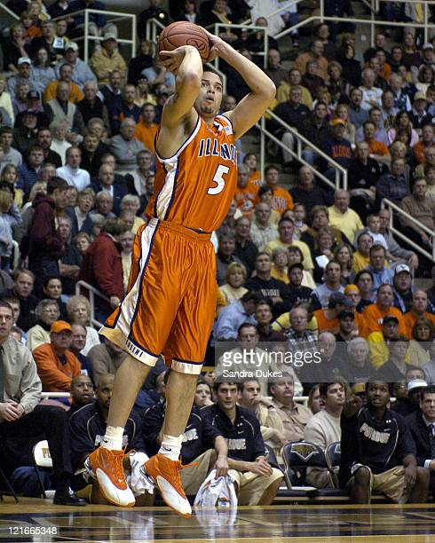 Illinois' Deron Williams fires a shot in the first half of a game won by Illinois 6859 at Mackey Arena in West Lafayette Indiana on January 8 2005