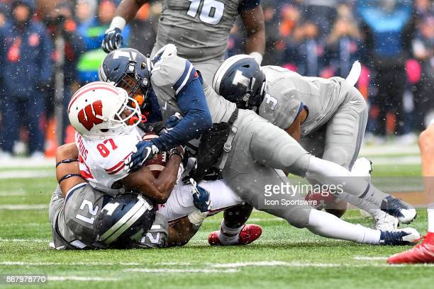 Illinois Fighting Illini defensive back James Knight is ejected for targeting after his on Wisconsin Badgers wide receiver Quintez Cephus and during...