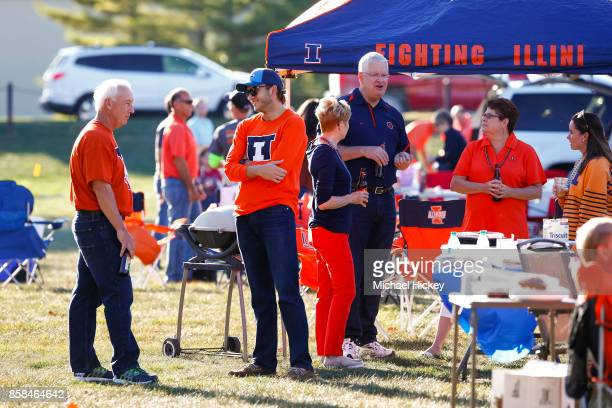 Illinois Fighting Illini fans are seen in the tailgating area before the game against the Nebraska Cornhuskers at Memorial Stadium on September 29...