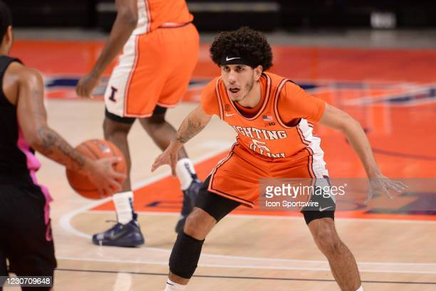Illinois Fighting Illini guard Andre Curbelo gets into a defensive position during the Big Ten Conference college basketball game between the Penn...