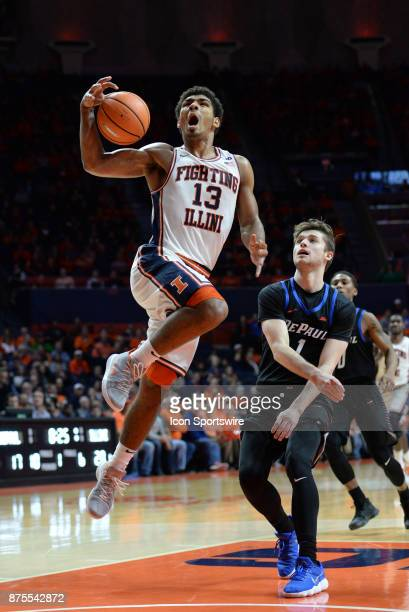 Illinois Fighting Illini guard Mark Smith is fouled as he goes up for a lay up during the college basketball game between the DePaul Blue Demons and...