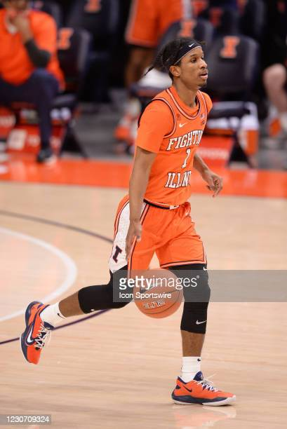 Illinois Fighting Illini guard Trent Frazier dribbles the ball during the Big Ten Conference college basketball game between the Penn State Nittany...
