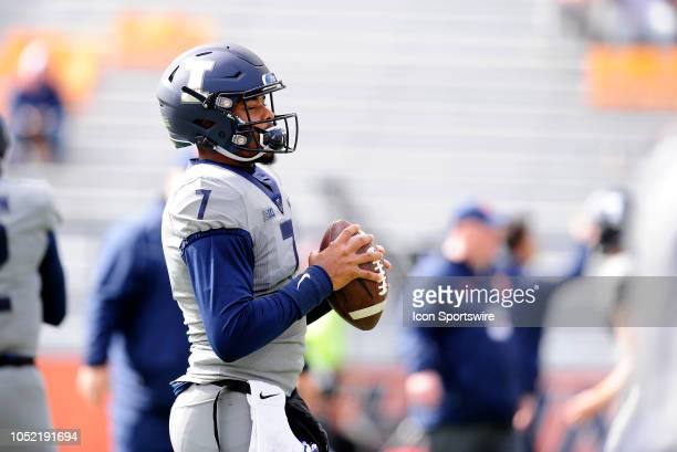 Illinois Fighting Illini quarterback CoranTaylor warms up for the Big Ten Conference college football game between the Purdue Boilermakers and the...