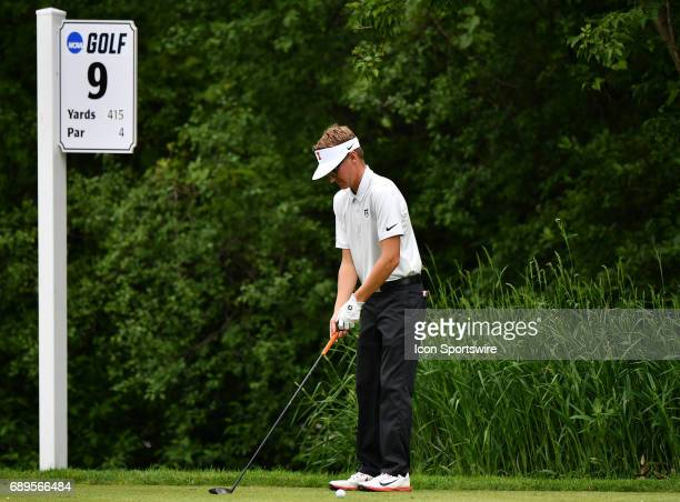 Illinois Fighting Illinis Dylan Meyer looks to play from the ninth tee during round 3 of the Division I Men's Golf Championships on May 28 2017 at...
