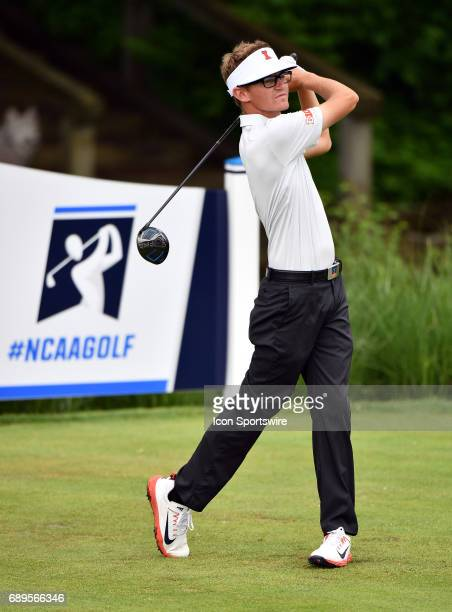 Illinois Fighting Illinis Dylan Meyer plays from the tee during round 3 of the Division I Men's Golf Championships on May 28 2017 at Rich Harvest...