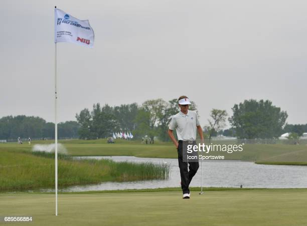 Illinois Fighting Illinis Dylan Meyer plays the ball during round 3 of the Division I Men's Golf Championships on May 28 2017 at Rich Harvest Farms...