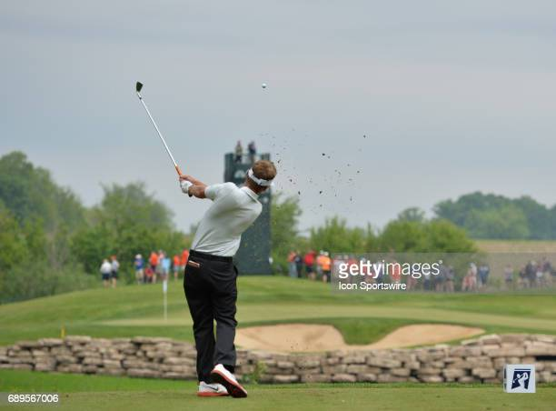 Illinois Fighting Illinis Dylan Meyer plays the ball from the fifth tee during round 3 of the Division I Men's Golf Championships on May 28 2017 at...