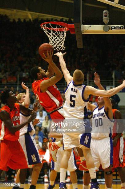 Illinois Forward Brian Randle puts up a rebound for two points during their game against the Northwestern Wildcats February 7 2007 at WelshRyan Arena...
