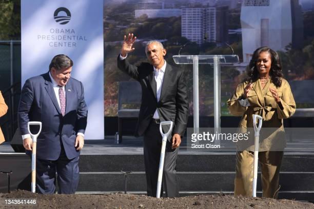 Illinois Gov. J.B. Pritzker joins former President Barack Obama and Michelle Obama for the ceremonial groundbreaking of the Obama Presidential Center...