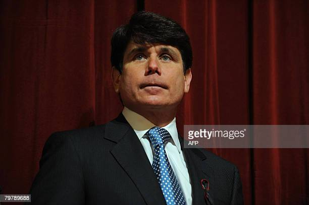 Illinois Governor Rod Blagojevich attends a press conference at Northern Illinois University in DeKalb Illinois on February 15 to address the deadly...