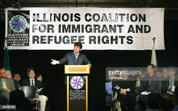 Illinois Governor Rod Blagojevich gestures as he speaks at the Mexican Fine Arts Center Museum April 19 2004 in Chicago Illinois Blagojevich...
