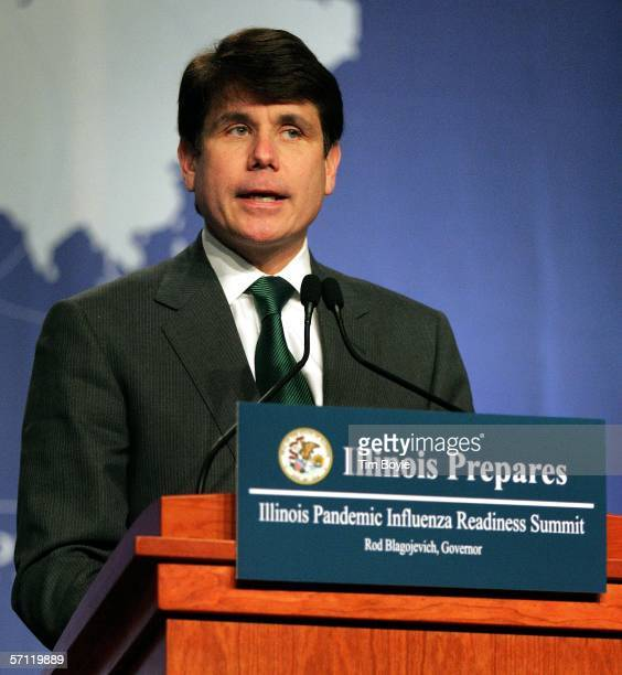 Illinois Governor Rod Blagojevich speaks at the Illinois Pandemic Influenza Readiness Summit March 17 2006 in Rosemont Illinois Federal and local...